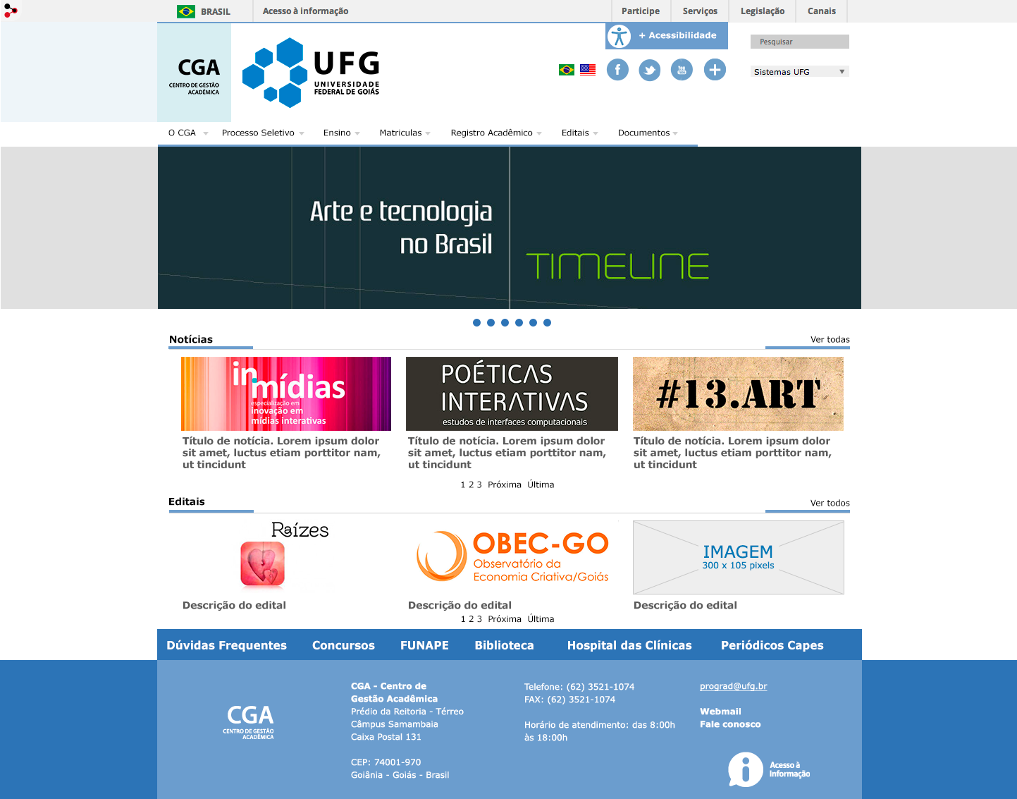 Figura 1 - Layout do Portal da UFG