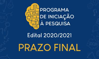 Prazo final de inscrições ao Programa de Iniciação à Pesquisa 2020-2021