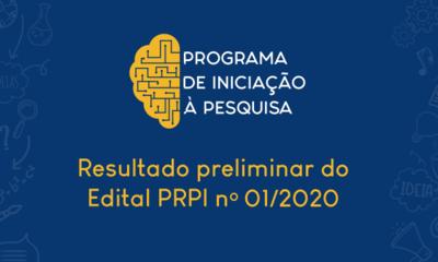 resultado preliminar do Edital PRPI nº 01 2020