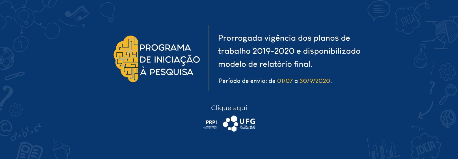 Vigência de planos de trabalho e relatório final PIP 2019-2020