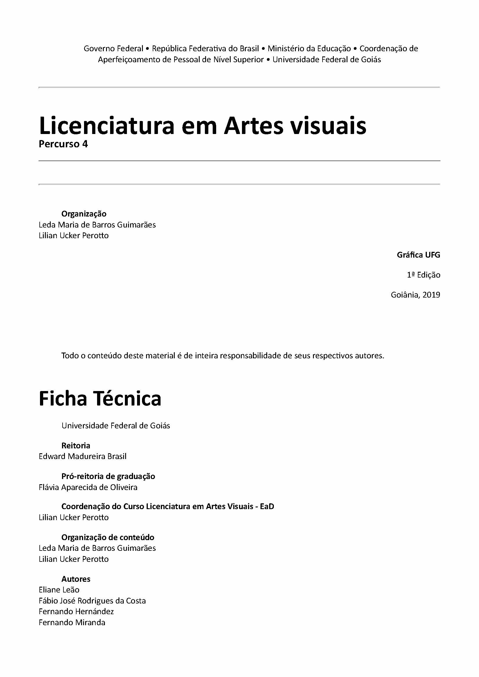 Licenciatura em Artes visuais -Percurso 4