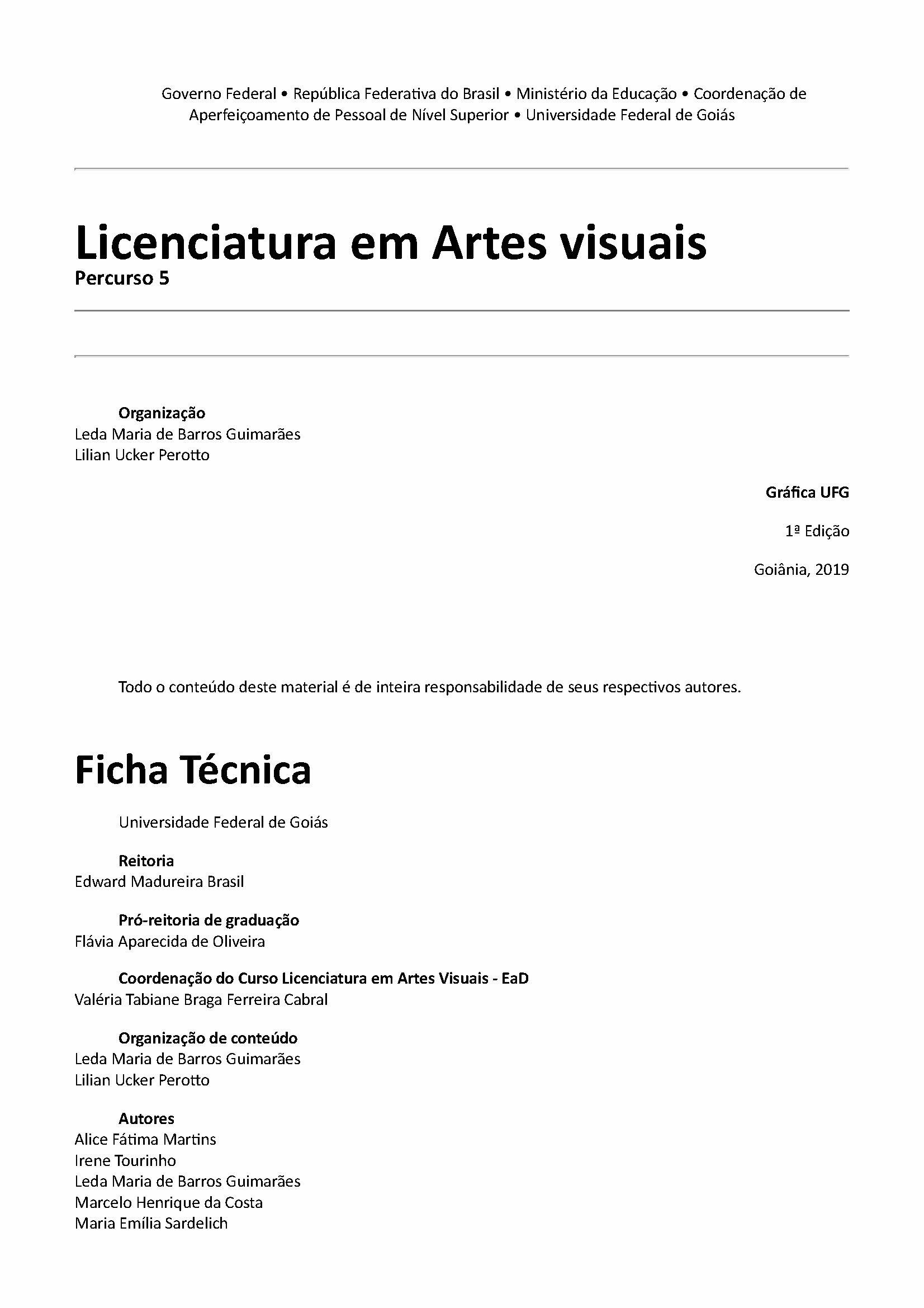 capa Licenciatura em Artes visuais -Percurso 5