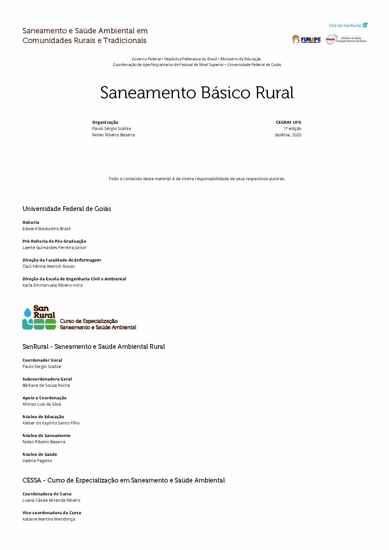 capa Saneamento Básico Rural