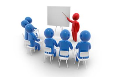 Imagem com avatares azuis sentados em semicírculo e um avatar vermelho em pé, junta a um quadro.