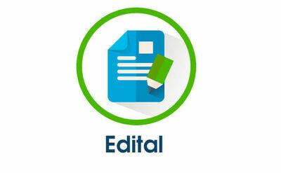 """Imagem com fundo branco, um círculo verde ao centro, e dentro do círculo uma folha de papel e um lápis. Abaixo do círculo, escrito em azul """"Edital"""""""