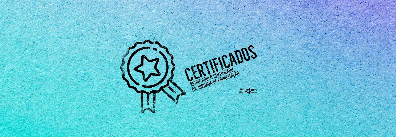 Fundo azul turquesa com desenho de um selo e a escrita certificados