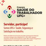 O programa Saúde do Trabalhador UFG+ realizará ações voltadas para o servidor, nesta terça feira dia 9,  no pátio do Instituto de Física, no campus Samambaia. Serão ofertadas palestras, vacinas, orientações médicas, entre outras atividades.