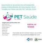 Estão abertas as inscrições para participar do processo seletivo para bolsistas Pet-Saúde