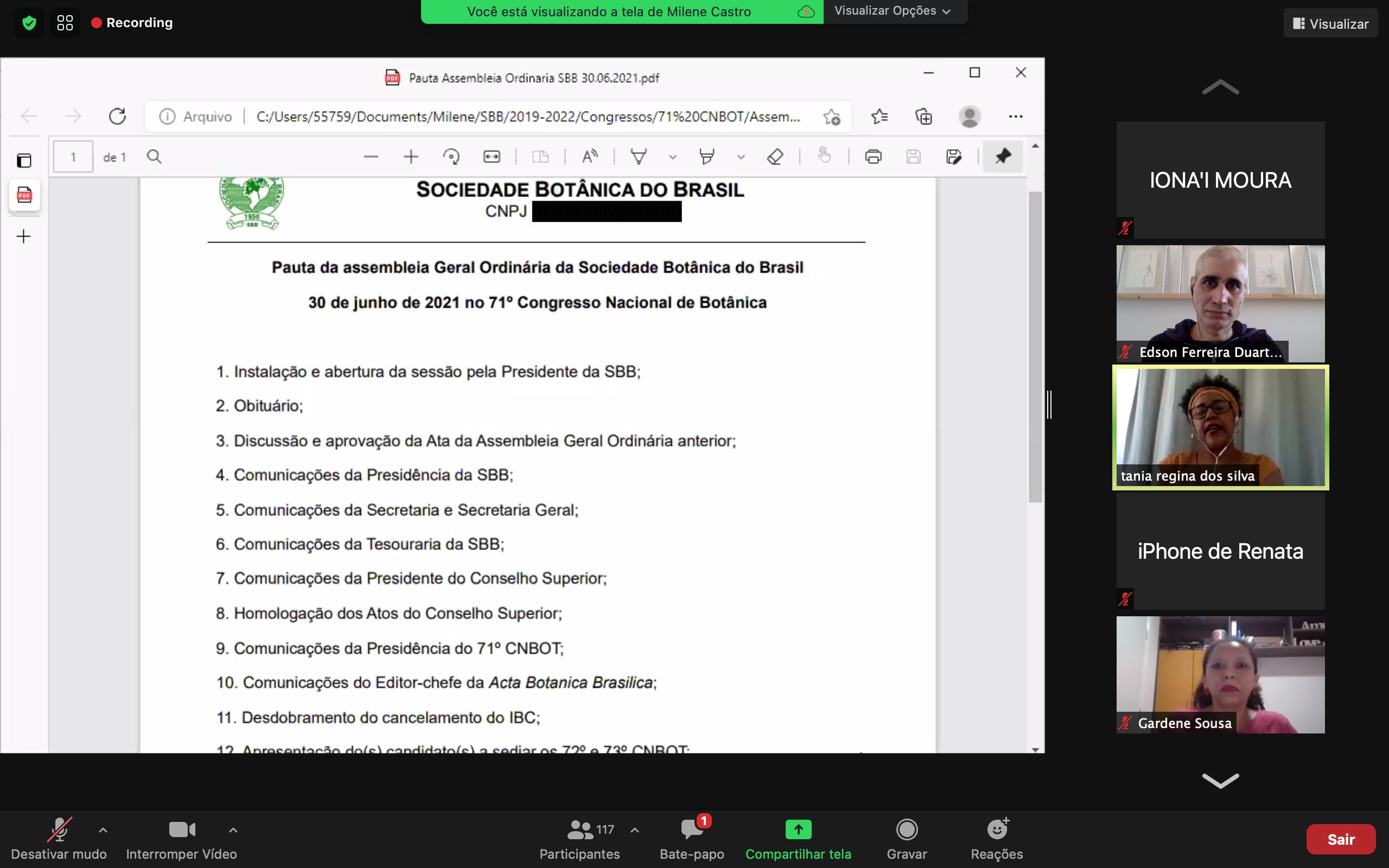 Evento - 71 Congresso Nacional de Botanica - Assembleia Geral