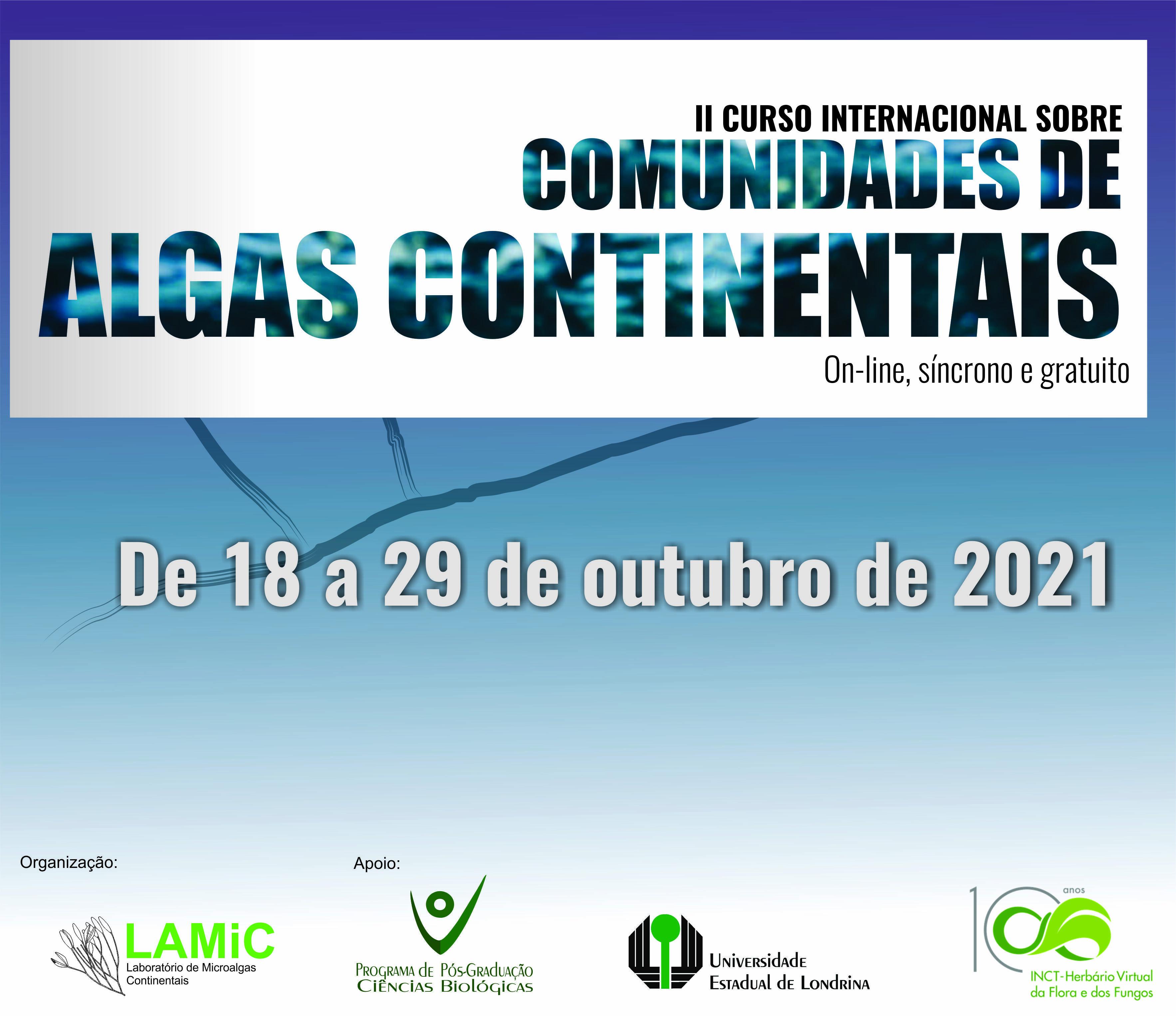Evento - II Curso Internacional Algas Continentais - 2021