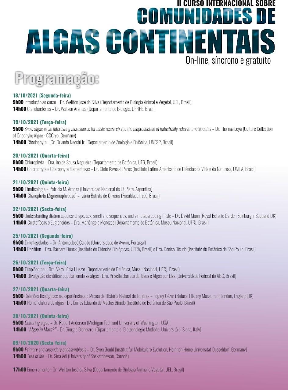 Evento - II Curso Internacional Algas Continentais 2 - 2021