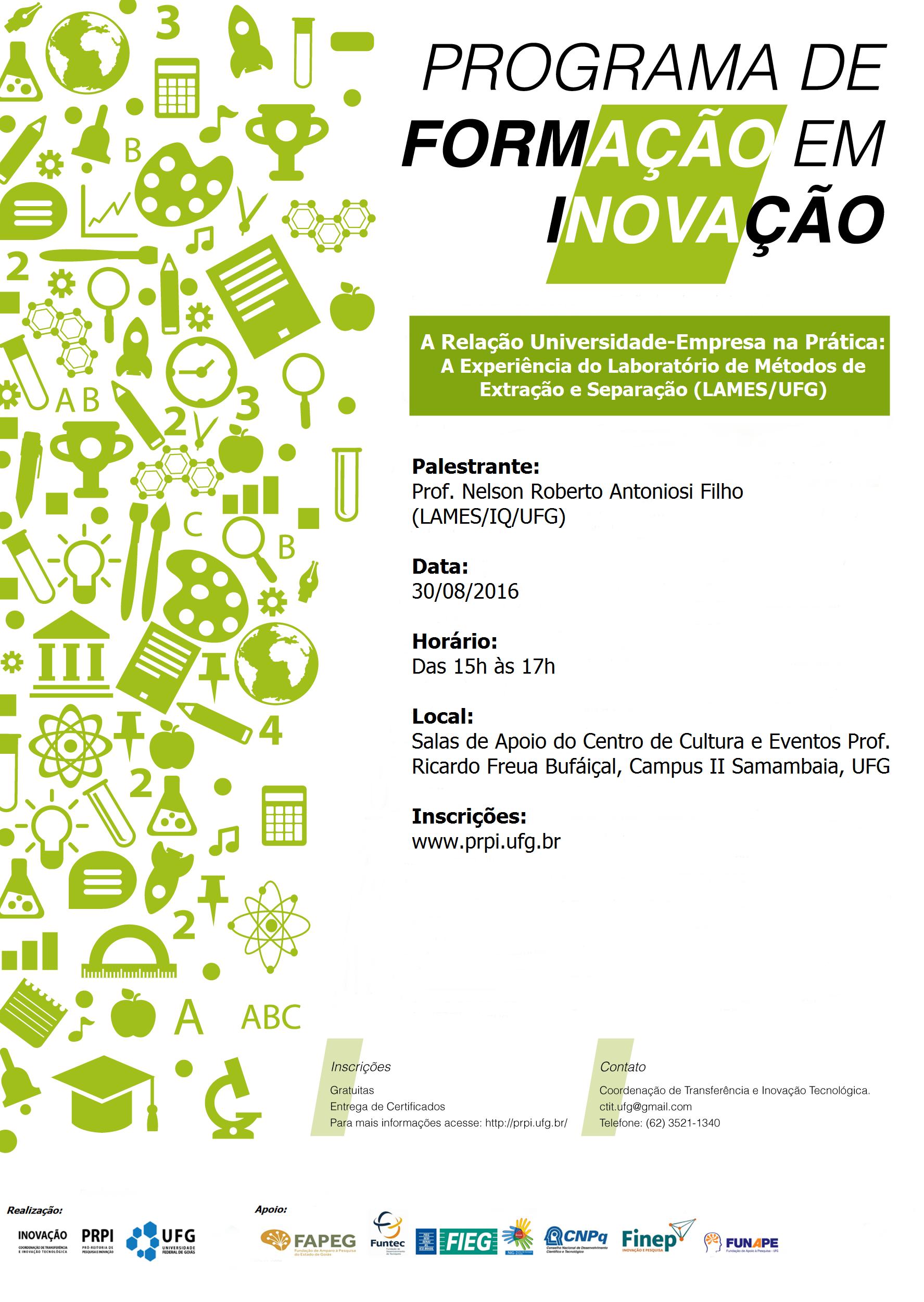 Cartaz Palestra A Relação Universidade-Empresa na Prática: A Experiência do Laboratório de Métodos de Extração e Separação (LAMES/UFG)