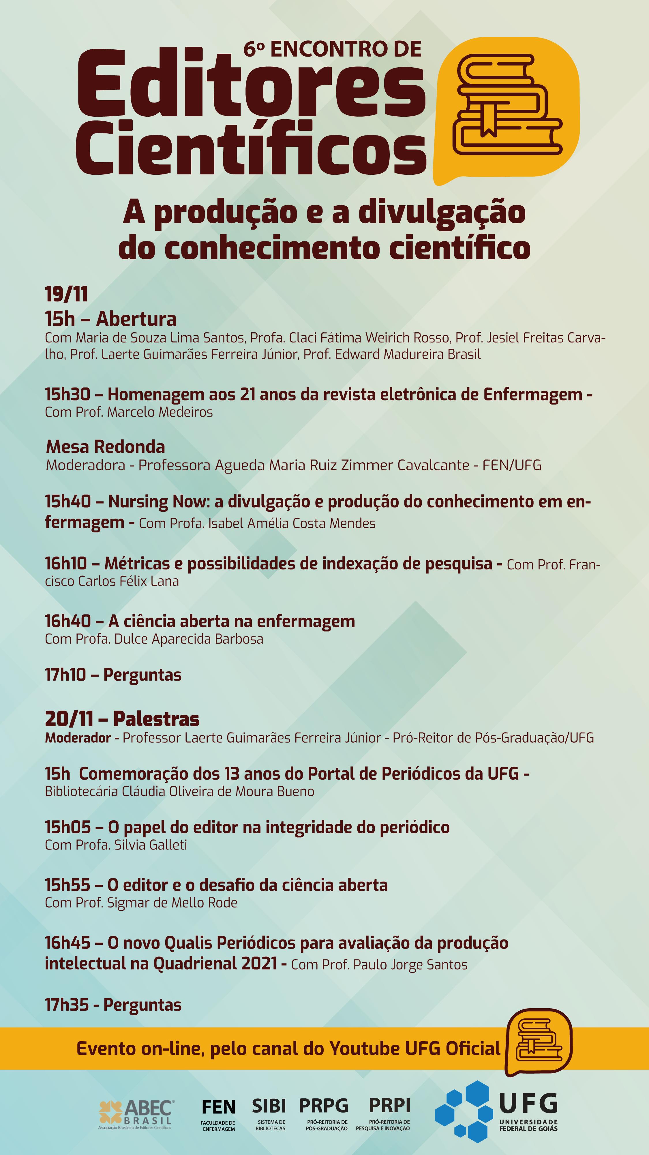 Programação do Sexto Encontro de Editores Científicos