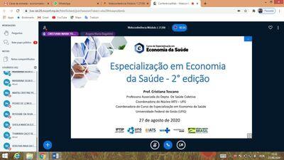 Foto da webconferência de início do Curso de Especialização em Economia da Saúde - 100%virtual