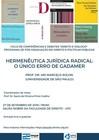 Cartaz Hermenêutica jurídica radical: o único erro de Gadamer