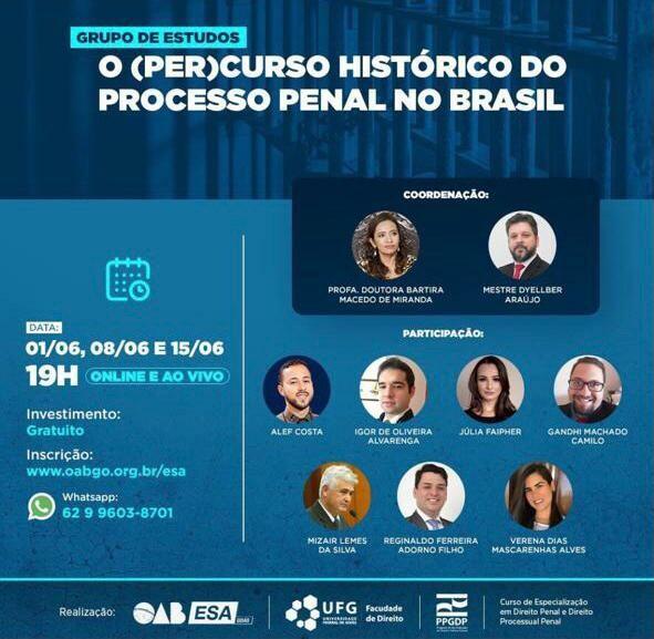 Grupo de Estudos: O percurso histórico do processo penal no Brasil.
